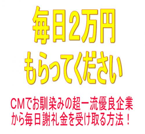毎日2万円もらってください!CMでお馴染みの優良大手企業から謝礼金を受け取る方法